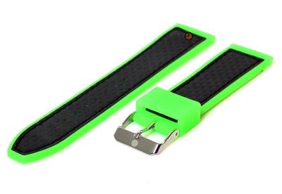 Horlogeband 22mm neongroen-zwart siliconen met carbon