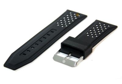 24mm siliconen horlogeband zwart-wit