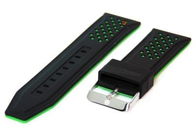 24mm siliconen horlogeband zwart-groen