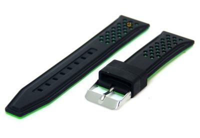 22mm siliconen horlogeband zwart-groen