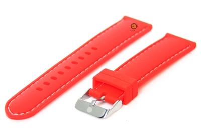 Horlogeband 18mm siliconen rood-wit