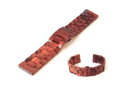 Houten horlogeband 22mm bruin (Indian rose)