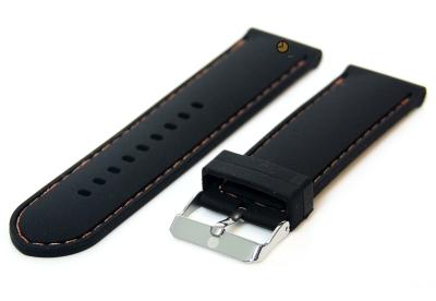 Horlogeband 24mm siliconen zwart-oranje