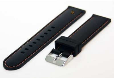 Horlogeband 20mm siliconen zwart-oranje