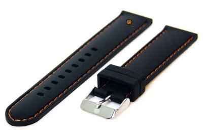 Horlogeband 18mm siliconen zwart-oranje