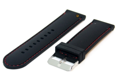 Horlogeband 24mm siliconen zwart-rood