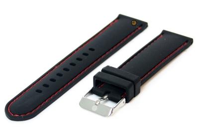 Horlogeband 18mm siliconen zwart-rood
