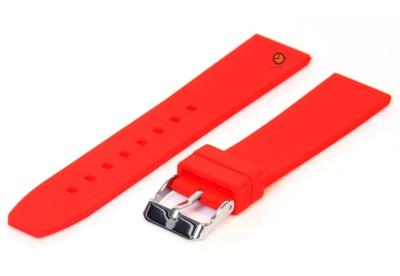 Horlogeband 18mm rood siliconen glad