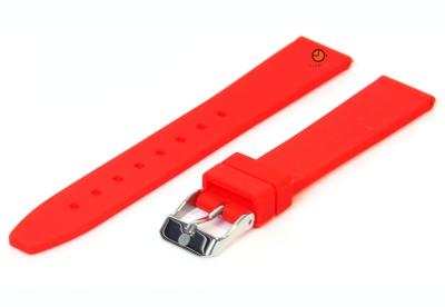 Horlogeband 16mm rood siliconen glad