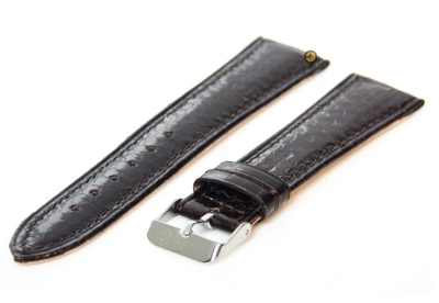 Horlogeband 18mm donkerbruin echt slangenleder