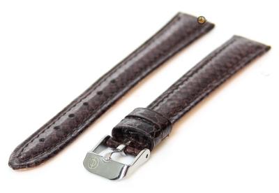 Horlogeband 14mm donkerbruin echt slangenleder