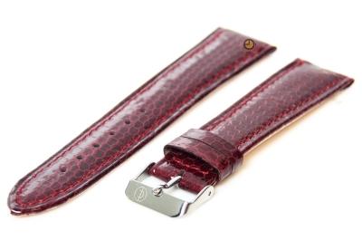 Horlogeband 22mm bordeaux echt slangenleder