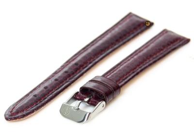 Horlogeband 16mm bordeaux echt slangenleder