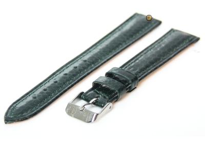 Horlogeband 16mm groen echt slangenleder