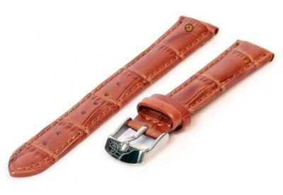 Horlogeband 12mm havanna bruin leer croco