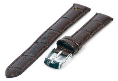 Horlogeband 12mm donkerbruin leer croco