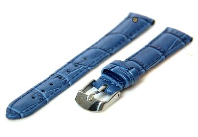 Horlogeband 14mm blauw leer kroko