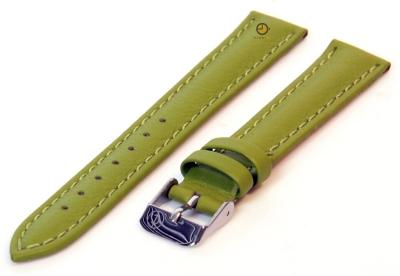 Horlogeband 14mm bosgroen kalfsleer