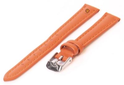 Horlogeband 12mm oranje kalfsleer