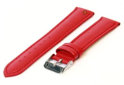 Horlogeband 16mm rood kalfsleer