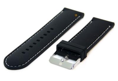 Horlogeband 24mm siliconen zwart-wit