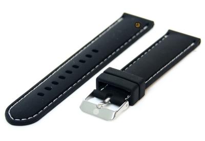 Horlogeband 20mm siliconen zwart-wit