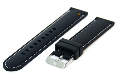 Horlogeband 18mm siliconen zwart-wit
