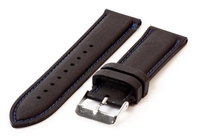 Horlogeband 24mm siliconen zwart-blauw