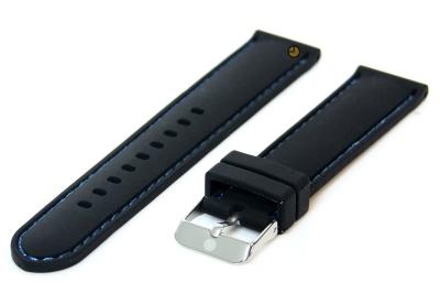 Horlogeband 18mm siliconen zwart-blauw