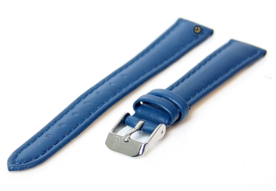 Horlogeband 16mm blauw kalfsleer