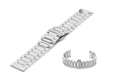 Horlogeband 22mm staal mat zilver