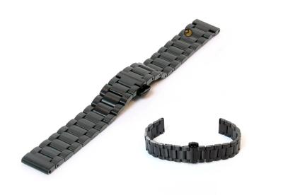 Horlogeband 16mm staal mat zwart