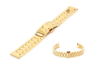 Horlogeband 16mm staal mat goud