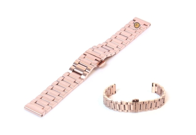 Horlogeband 16mm staal mat rose goud