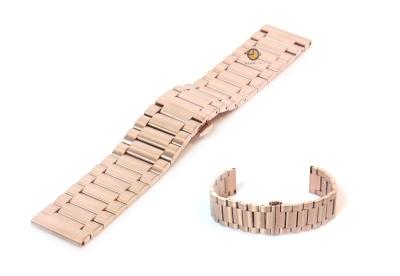 Horlogeband 20mm staal mat rose goud