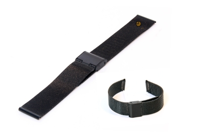 Milanese horlogeband 18mm zwart fijn