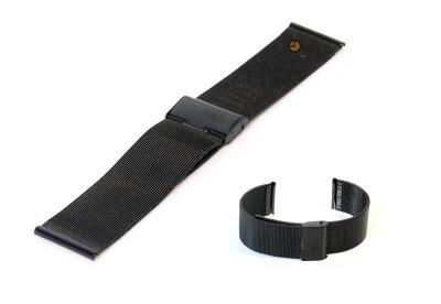 Milanese horlogeband 22mm zwart fijn
