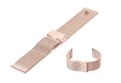 Milanese horlogeband 22mm rose goud