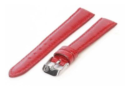 Horlogeband 18mm echt hagedissenleer rood