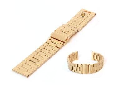 Horlogeband 22mm staal mat goud