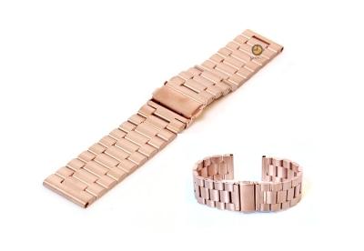 Horlogeband 22mm staal mat rose goud