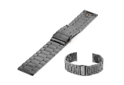 Horlogeband 22mm geborsteld gunmetal