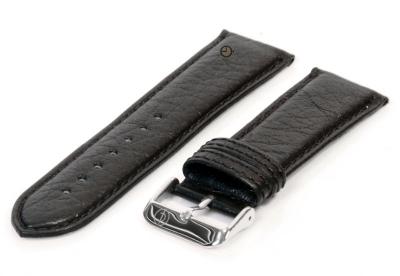 Horlogeband 24mm zwart bizon leer