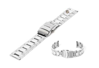 Horlogeband 20mm zilver staal deels gepolijst