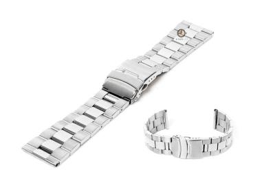 Horlogeband 24mm zilver staal deels gepolijst
