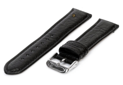 Horlogeband 18mm zwart bizon leer
