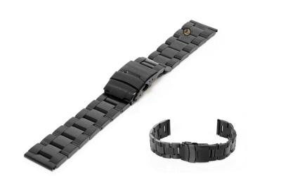 Horlogeband 18mm zwart staal deels gepolijst