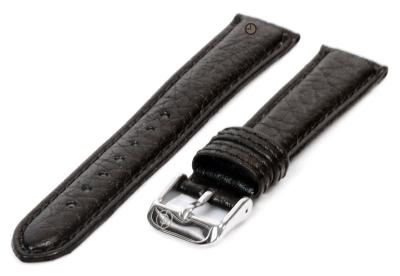 Horlogeband 16mm zwart bizon leer
