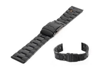 Horlogeband 22mm zwart staal deels gepolijst