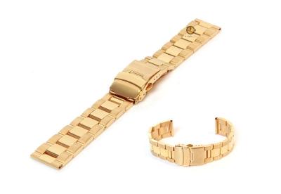 Horlogeband 18mm goud staal deels gepolijst
